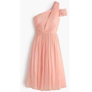 """J. CREW Misty Rose """"Cara"""" One Shoulder Silk Dress"""
